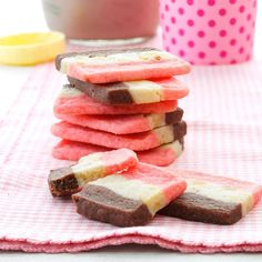 """Neapolitan Cookies Recipe- Recipes """"My sister shared the recipe for these thin tri-color treats several years ago,"""" relates Jan Mallo of White Pigeon, Michigan. """"The crisp cookies are fun to eat - one section at a time or with all three in one bite. Neapolitan Cookies Recipe, Sugar Cookies Recipe, Holiday Baking, Christmas Baking, Christmas Goodies, Cookie Desserts, Cookie Recipes, Cookie Ideas, Dessert Recipes"""