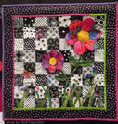 Tribute to Mom by Diane Hartman.  3-D hexagon flowers; Kaffe Fassett fabric