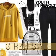 Street Style by pokadoll on Polyvore featuring Topshop, Native Union, Molami, Hedi Slimane, Sheinside and shein