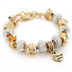 Heart Charm Bracelets & Bangles $15.96 Fine or Fashion: Fashion Item Type: Bracelets Style: Classic Gender: Women Setting Type: Bezel Setting Material: Glass Chain Type: Snake Chain Length: 19cm Clasp