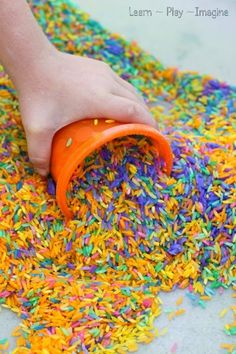 How to make rainbow rice - dyeing rice for art and sensory play