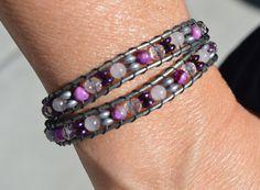 Sugilite and Rose Quartz double wrap LOVE bracelet by CrystalMeB