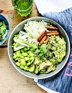 Buddha bowl tofu sauté, chou chinois et edamame pour 4 personnes - Recettes Elle à Table