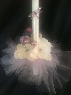 Browse unique items from Linascandlesandmore on Etsy, a global marketplace of handmade, vintage and creative goods. Baptism Candle, Palm Sunday, Candels, Christening, Different Colors, Centerpieces, Projects To Try, Tulle, Easter