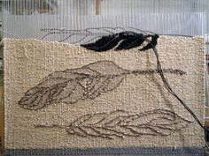 Today I& made a bit of a change in the path that the feather tapestry was taking, inspired by a flock of crows (oops, is that a murder of . Weaving Wall Hanging, Weaving Art, Weaving Patterns, Loom Weaving, Hand Weaving, Flock Of Crows, Tapestry Loom, Weaving Projects, Tear