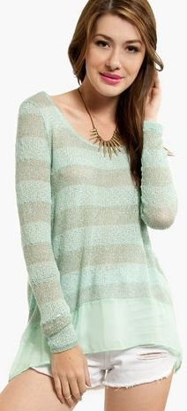 Pair this delicate knit with white jeans and booties for a fun night out.  Or, wear it with long black leggings and flats for your next fro-yo and shopping marathon.