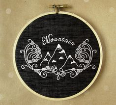 Embroidery hoop art, hand embroidery, modern art, Mountain embroidery, pdf pattern by NaNeeHandEmbroidery on Etsy https://www.etsy.com/listing/211354628/embroidery-hoop-art-hand-embroidery