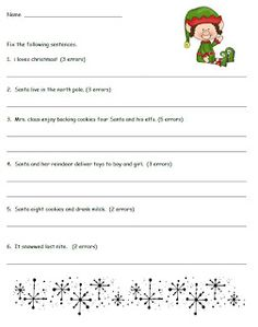 Smiling and Shining in Second Grade: Christmas Fix-It Sentences