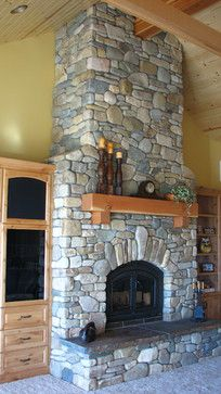 Rock Fireplace Design Ideas, Pictures, Remodel, and Decor - page 15 - Modern Design Home Fireplace, Fireplace Remodel, Fireplace Design, Fireplace Mantels, Fireplace Decorations, Fireplace Ideas, Mantle, Masonry Work, Stone Masonry