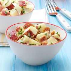 Quick Bacon Potato Salad Recipe -My family was tired of the same old potato salad at family functions, so I created this with the ingredients I had on hand. Now I'm always asked to bring it to potluck gatherings. —Tami Gallagher, Eagan, Minnesota
