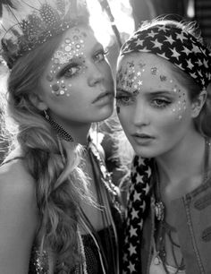 glitter, stars, feathers, fun, art, hair, black and white, photography