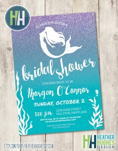 mermaid bridal shower invite printable by HeatherHughesDesign