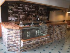 Custom Blend of rustic Brick Slips for this cafe renovation in Ayrshire Tiles Uk, Brick Tiles, Retro Furniture, Industrial Furniture, Vintage Industrial Lighting, Stone Cladding, Floors, Restaurants, Rustic