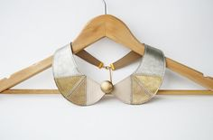 Metallic Silver and Gold Leather Collar Bib Necklace Peter Pan Detachable Collar Geometric Jewelry Europeanstreetteam