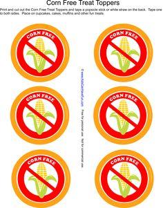 Corn free printable labels http://www.kidscanhavefun.com/food-allergy-printables.htm #foodallergy #cornallergy