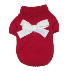 smalllee/_lucky/_store Small Dog Sweater Navy Knitwear Cat Jumper Puppy Pet Clothes Bowknot Red XS