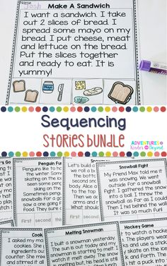 This growing bundle contains 30 short stories each paired with 4 sequencing pictures. These materials are great for working on a variety of skills including story retelling, sequencing information, answering questions and sentence structure. Sequencing Pictures, Story Sequencing, Story Retell, Sequencing Activities, Therapy Activities, Therapy Ideas, Educational Activities, Teaching Reading, Guided Reading