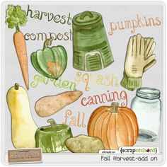 Digital Scrapbook Elements - Fall Harvest Add-On | mle Card