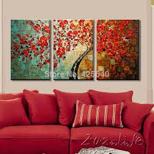 Cheap tree painting, Buy Quality paintings on canvas directly from China palette knife Suppliers: Tree painting On Canvas Wall art Paintings For Living Room 3 pieces Canvas Palette Knife texture quadros caudros decoracion Interior Color Schemes, Interior Paint Colors, Interior Painting, Yellow Interior, Interior Ideas, Interior Design, Living Room Pictures, Wall Art Pictures, Oil Painting On Canvas