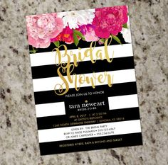 Kate Spade Inspired Black White Striped Bridal Shower Invitation with Gold Accent - DIY Print Your Own