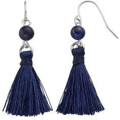 Chaps Blue Tassel Nickel Free Drop Earrings ($9.80) ❤ liked on Polyvore featuring jewelry, earrings, navy, fish hook earrings, fishhook earrings, blue drop earrings, navy earrings and multi colored earrings