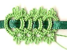 Celtic Tatting Ring ( 15 - - - 15 ) turn Chain ( 2 - - - 2 ) turn Repeat, weave ribbon through as shown here.