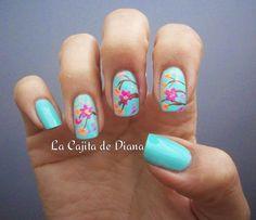 Mint Cherry Blossom http://lacajitadediana14.blogspot.com/2014/07/omd2nailsmintmenta.html#more