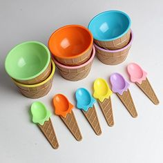 A lovely set of ice cream in plastic bowls and spoons! The spoons are designed to look like real ice cream cones. The base of each bowl is designed to look like an ice cream cone and bowls are. look like ice cream cones. Cool Kitchen Gadgets, Kitchen Items, Cool Kitchens, Ice Cream Bowl, Cream Bowls, Cream Cups, Kids Dishes, Cute Kitchen, Dessert Bowls