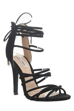 02f477d8b58 Description  These open-toe suede pumps are perfect to take from day to  night · Black Strappy HeelsBlack ...