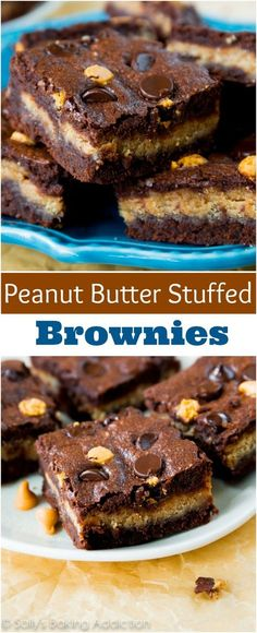 Fudgy homemade brownies stuffed with a creamy peanut butter filling. If you like peanut butter cups, you'll love these!!