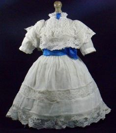 LOVELY Antique Cotton & French Lace for French German Bisque Doll