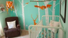 Bedroom: Baby Boy Room Ideas Hunting With Green Paint Wall Have Small Brown Furniture Chair For Baby Boy For Small Room from Baby Boy Room Ideas: When Big Impact Strike Small Room