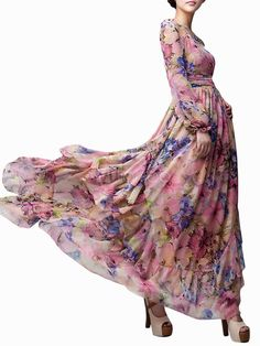 Pink Floral Printed Long Sleeves Chiffon Jewel Neck Maxi Dress - Milanoo.com