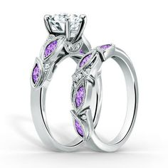 Vintage Created White Sapphire with Lilac Amethyst Sidestone 925 Sterling Silver Leaf-shaped Design Bridal Ring Set