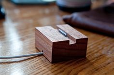 wooden iphone dock.   -thiev-er-ies tumblr