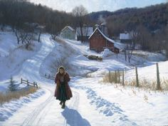 Realistic paintings by Robert Duncan capture the beauty of American Rural life Realistic Paintings, Paintings I Love, Robert Duncan Art, Cool Winter, Mary Cassatt, Winter Painting, Country Paintings, Winter Scenery, Snow Scenes