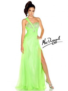 Neon Lime One Shoulder Prom Dress - Mac Duggal 64348L