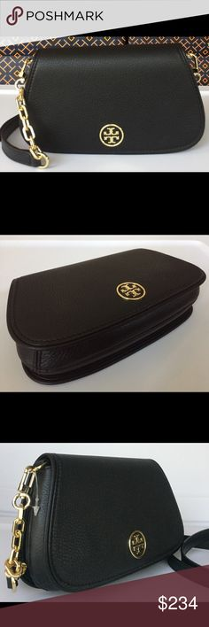 Tory Burch Landon Black Crossbody The Tory Burch Landon Crossbody is classy and elegant. It is beautifully designed with smooth black leather, a Tory Burch front 'T' logo, gold hardware, 3 interior card slots, adjustable and removable strap. This Handbag transitions from a Crossbody to a clutch. Tory Burch Bags Crossbody Bags