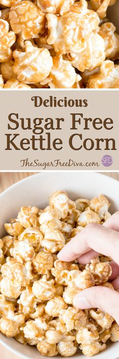 It is a delicious and easy snack. Learn how to make sugar free kettle corn using this recipe that will please you and your crowd. Sugar Free Deserts, Sugar Free Snacks, Sugar Free Baking, Sugar Free Candy, Sugar Free Sweets, Sugar Free Cookies, Diabetic Snacks, Low Carb Desserts, Healthy Sweets