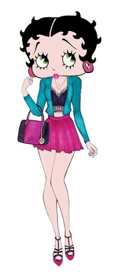 Betty Boop Sexy short pink skirt, frilly top under jacket