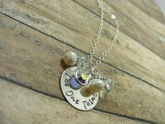Sterling silver and a mix of jewels, you choose the color, personalized-handstamped to your liking!