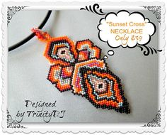 PEN-001 - Sunset Cross Pendant with cord - Brick stitch woven pendant - One of A Kind Design