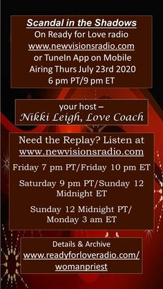 Tonight on Ready for Love Radio - Scandal in the Shadows with Margaret O'connor at 9 pm ET/6 pm PT on www.newvisionsradio.com or on the Tune In app on mobile. Full details on www.readyforloveradio.com/womanpriest.