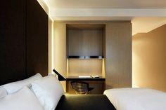 Modern Hotel Guestrooms Interior with Contemporary Minibar and Wardrobe Design