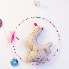 Circus Sea lion hanging mobile handmade by Scalae of France.