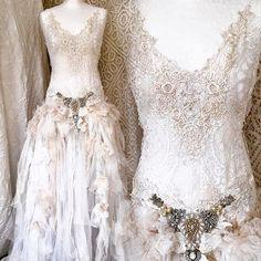 Wedding dresses for Boho brides, eco friendly, handmade by RAWRAGSbyPK Tea Length Wedding Dress, White Wedding Dresses, Boho Wedding Dress, Chic Wedding, Magical Wedding, Pretty Dresses, Beautiful Dresses, Fantasy Dress, French Lace