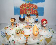 8 Disney Chicken Little Movie Cake Toppers by jenuinecraftsandmore