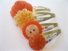 Funky Hair Clips Set of Four - Orange Mix of Snap Clips - Flowers and Buttons, $8