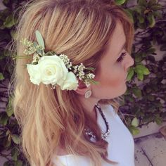 Wedding hair with flowers! Flowers from Carrollwood Florist in Tampa Florida.