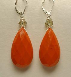 Mark Edge - Faceted Orange Glass Teardrop - $75.00